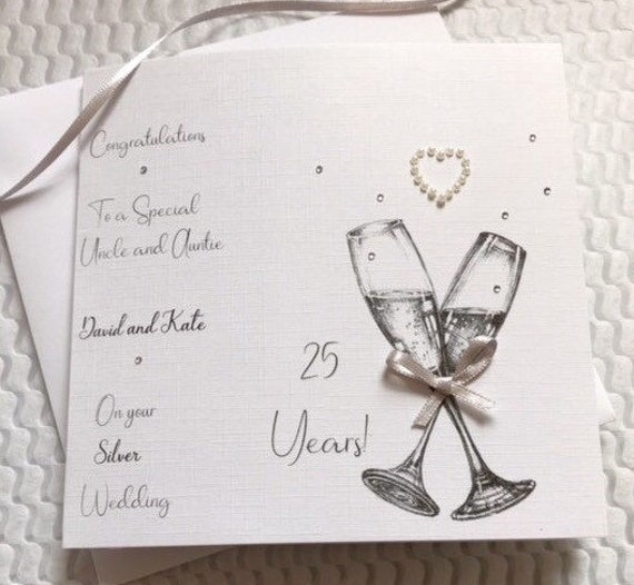 Personalised Silver Anniversary Silver Metal Cards Set