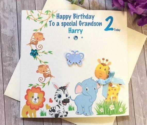 2nd 3rd Son-Grandson-Nephew Animal theme Boys Handmade Birthday Card 1st
