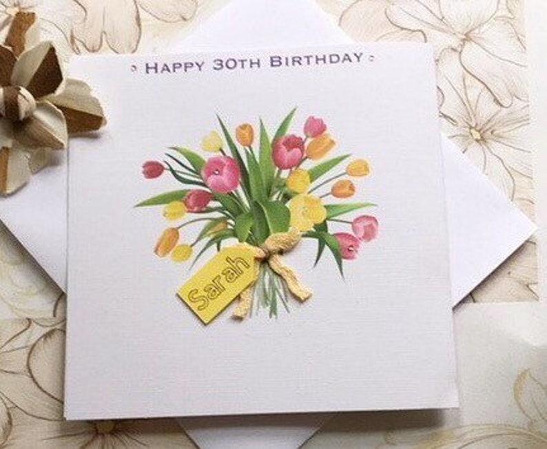 Carte Joyeux Anniversaire Avec Fleur Avec Letiquette De Nom Etsy
