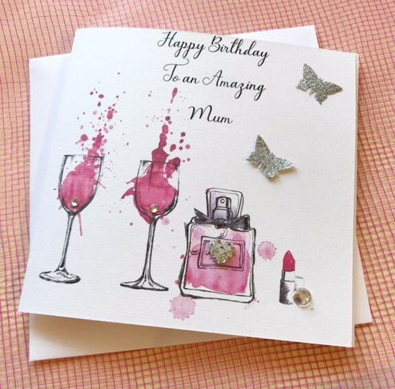 Personalised Female Birthday Card Friend Sister Daughter 30th 40th 50th Gin