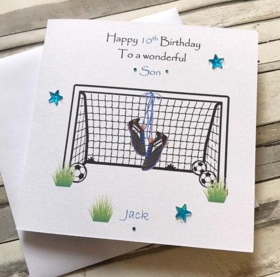 ANY NAME PERSONALISED FOOTBALL GOALKEEPER BIRTHDAY CARD BOY//SON//DAD GOALIE