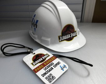 Jurassic Park ID Badge Hard Hat Dinosaur Ranger Costume Prop Cosplay