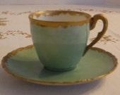 Vintage 1910 Tressemann and Vogt (T V) Limoges France Demitasse Cup and Saucer, Hand Painted Blue Green, Gold Trim, Unique Find, Collectible