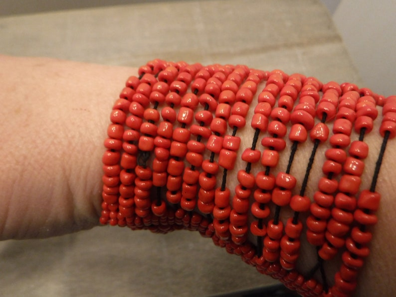 Cuff Bracelet 1970/'s Retro, BoHo Hippie Vintage Hand Made Multi Strand Red Seed Bead Stretch Bracelet Vintage Costume Jewelry