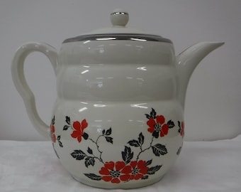 """1930's Vintage Hall China Red Poppy """"Daniel"""" Coffee Pot and Lid, Platinum Trim, Red Poppies, Black Leaves, Collectible, Retro Kitchen"""