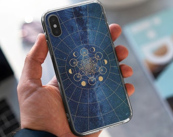 Metatron's Cube | Sacred Geometry Celestial Case | iPhone 7|8|X|XS|XR|SE|11|12 Pro Max | Samsung Galaxy S10|S20 | Gold Moon Phases | Galaxy
