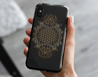 Flower of Life | Sacred Geometry Case | iPhone 7|8|X|XS|XR|SE|11|12 Pro Max | Samsung Galaxy S10|S20 | All Seeing Eye | Lotus Flower | Moon