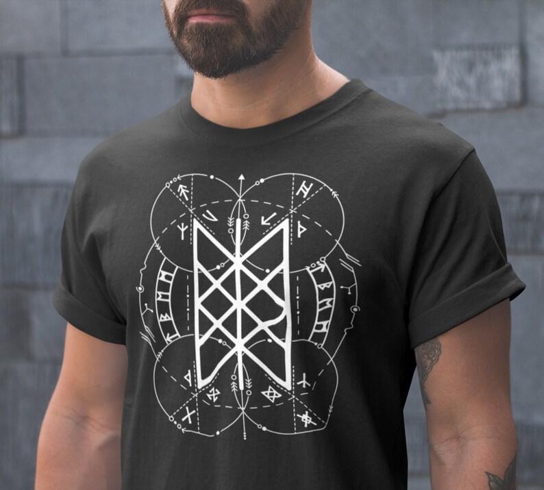 45643314 Web of Wyrd   Norse Pagan Symbol   Viking T-Shirt   3/4 Raglan Shirt    American Apparel Tank Top   Viking Clothing   Skuld's Net   Heathen