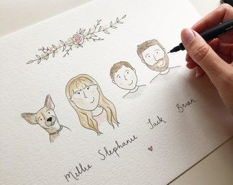 Personalised Family Portrait (with pets) - Original Watercolour & Ink