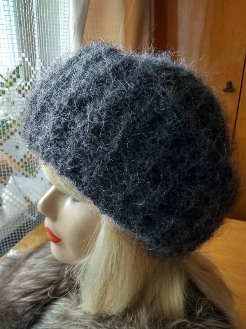 Knitted gray fuzzy hat Mohair hat Crochet winter hat women  fdde771ee1f