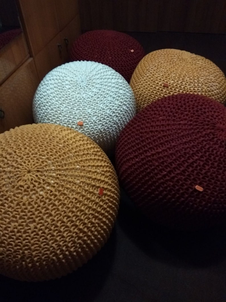 Poof Color : Yellow Pouffe Ottoman Stuffed Moroccan Pouf