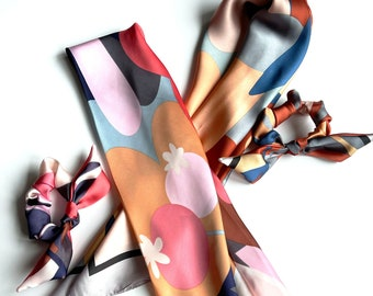 Satin Series Scarves and Scrunchie | Silk Floral | Hair Scarf | Neckerchief | Braid Scarf