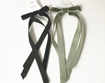 Velvet Bow Series - Long Bows - Bow with long Tails - Velvet Hair Tie or  Barrette - Pine Green Velvet Bow fb08d687c05