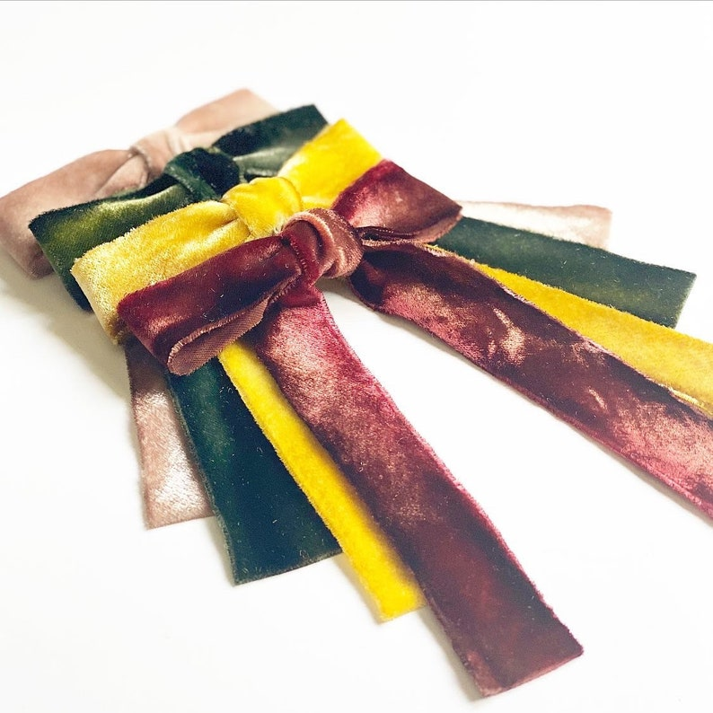 Long Bows Le Petite Hand Dyed Silk Velvet Bow Series Several colors Sold individually Ombr\u00e9 Velvet Hair Tie or Barrette