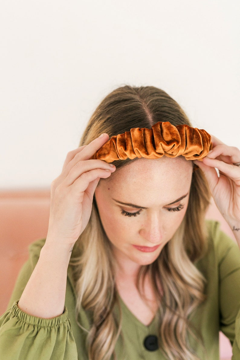 A Beautiful Mess x Etsy  Rich Amber Crushed Velvet Scrunchie image 0