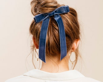 Velvet Long Bow Series | Hair Tie, Barrette or Clip | Several Colors | Sold individually
