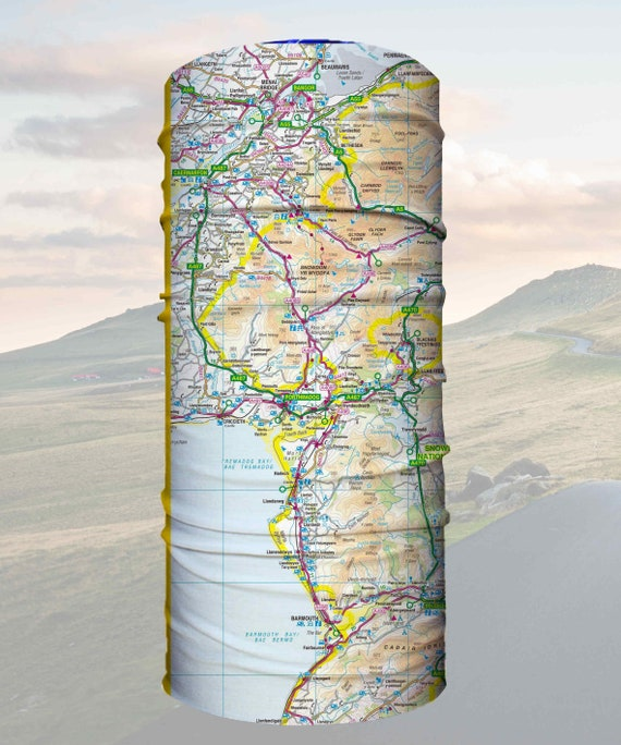 Explorer Wearable Map bandana snood tube scarf biking hiking cycling gift