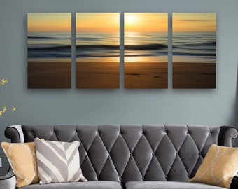 Panoramic Photography Abstract Ocean Sunrise Modern Contemporary HD Metal Print Wall Art, Abstract Beach Art, Nautical Wall Decor