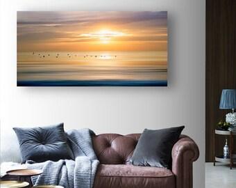 Panoramic Photography Abstract Ocean Sunrise Birds Contemporary HD Metal Print Wall Art, Abstract Beach Art, Nautical Wall Decor