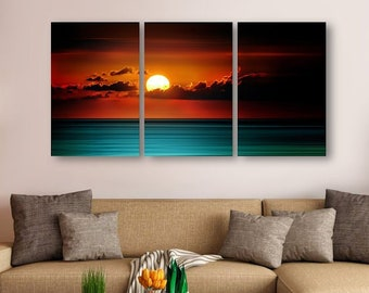 Panoramic Photography Abstract Ocean Red Sunrise Modern Contemporary HD Metal Print Wall Art, Abstract Beach Art, Nautical Wall Decor