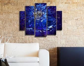Liquid Blue Abyss Large Modern Abstract Metal Wall Art Decor, Abstract Art, Modern Art