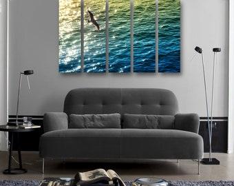 Ocean Sparkle Art Blue Gold Modern Contemporary LARGE HD Metal Print Wall Art, Nautical Wall Decor