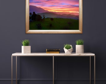 ALPENGLOW One Panel HD Metal Print Wall Art(Frame Not Included) , Ready to Hang, Sunrise, Mountains, Wine Country -- Santa Ynez Valley, CA