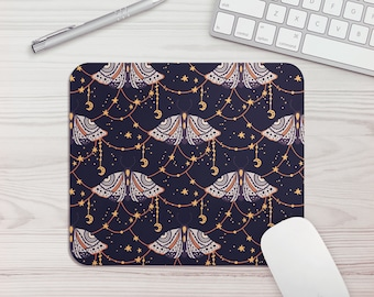 Mouse Pad Mystic Moth Print Office Gift Mouse Mat Celestial Butterfly Print Mouse Pad Graphic Design Mousepad Mousemat Desk Accessories