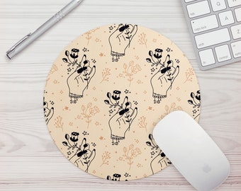 Mouse Pad Mystic Hands Print Office Gift Mouse Mat Celestial Witchy Floral Print Mouse Pad Graphic Design Mousepad Mousemat Desk Accessories