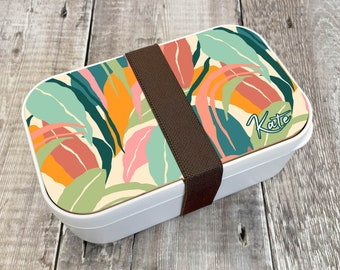 Jungle Personalised Lunch Box, Custom Bento Lunch Box, Wooden Snack Box, Re-Usable Food Box, Travel Meal Box