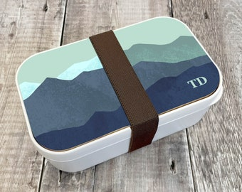 Mountain Personalised Lunch Box, Custom Bento Lunch Box, Wooden Snack Box, Re-Usable Food Box, Travel Meal Box