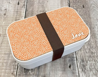Polka Dot Personalised Lunch Box, Custom Bento Lunch Box, Wooden Snack Box, Re-Usable Food Box, Travel Meal Box