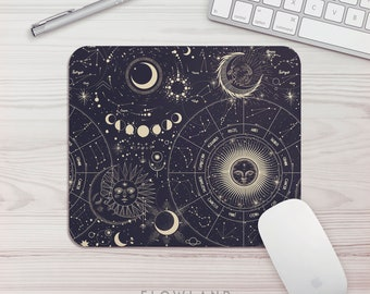 Mouse Pad Celestial Pattern Office Gift Mouse Mat Space Mouse Pad Horoscope Mousepad Star Mousemat Desk Accessories Gift For Her Desk Decor