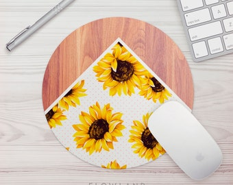 Mouse Pad Sunflower Wood Print Office Gift Mouse Mat Sunflower Mouse Pad Floral Print Mousepad Mousemat Desk Accessories For Her Desk Decor