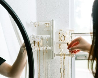 """6-Tier 8"""" 60-Hole Wall Earring Necklace Hanging Jewelry Holder (Command Strips included) Petite (1/2 the size of our regular wall-mount)"""