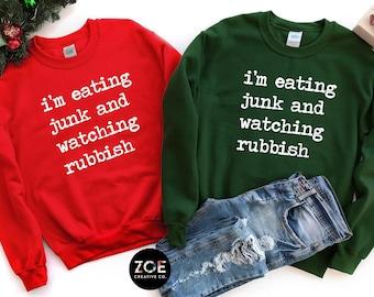 9c132699 Home Alone Shirt, Quote Sweatshirt I'm Eating Junk And Watching Rubbish Shirt  Funny Christmas Sweatshirt for Women Home Alone Movie Phrase *
