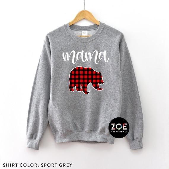 3e8ce642 Mama Bear Sweatshirt Mama Bear Shirt Mom Shirt Red Plaid   Etsy