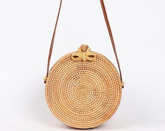59b2f5c6b Happy Straws Round Straw Bag Round Rattan Bag,Circle Straw Crossbody Bag,Straw  Purse,Woven Round Straw Bag, Bohemian Bag,sac en rotin, boho