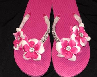 889e89ea1dd2 Pink   White Flower Embellished Flip Flops