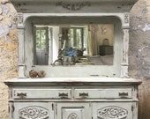 SOLD Antique Oak Mirror Backed Dresser, Hand Painted Sideboard, Buffet, Shabby Chic Drinks Cabinet, Grey White Dresser, Carved Detail