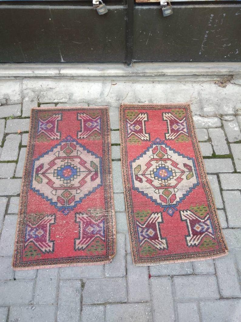Oushak Rug rug  vintage rug turkish rug oriental rug runner area small rug 4845x9194 cmft.1.471.57x3 3.08 pair  rug twin wool