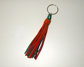 Keychain Nappina Orange - blue - green leather with Ring