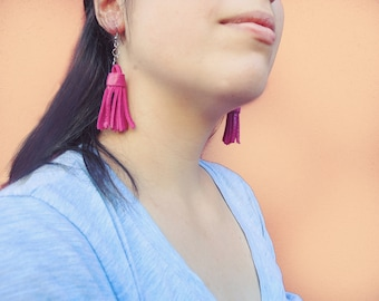 Pink Leather Nappina Earrings