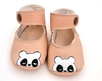 Leather ballet flats for newborn 6-9 months, hand-painted