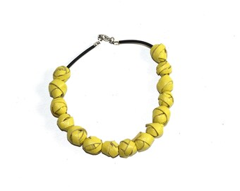 Leather yellow pearl bracelet