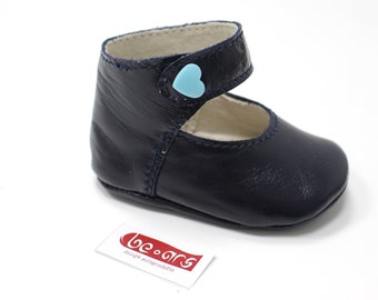 Glossy blue leather dancers for newborn 3-6 months
