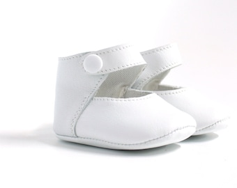White leather dancers for girl 3-6 months
