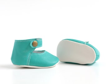 Cradle scarpine in turquoise leather and cream, ballerina model, laced at the ankle