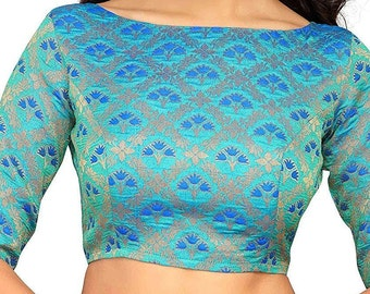 181386e1c0ef1 Embellished BLUE Readymade Benaras Brocade Stitched Wedding Christmas Party  Wear Indianattire BOAT NECK Blouse Crop Sari Top For Women
