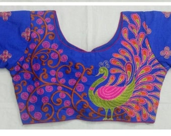 1034d43bfdd6c4 Free Shipping New Banglori Silk PEACOCK Embroidered Work Women Designer  Readymade Party Wear Wedding Saree Stitched Blouse Crop Sari Top